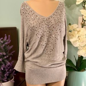 White House Black Market Gray Sequined Sweater